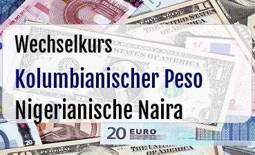 Kolumbianischer Peso in Nigerianische Naira