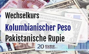 Kolumbianischer Peso in Pakistanische Rupie