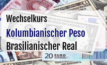 Kolumbianischer Peso in Brasilianischer Real