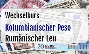 Kolumbianischer Peso in Rumänischer Leu