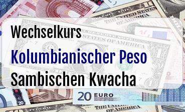 Kolumbianischer Peso in Sambischen Kwacha