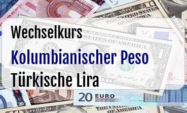 Kolumbianischer Peso in Türkische Lira