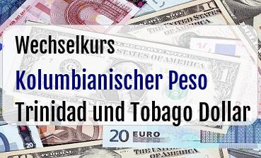 Kolumbianischer Peso in Trinidad und Tobago Dollar