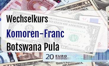 Komoren-Franc in Botswana Pula