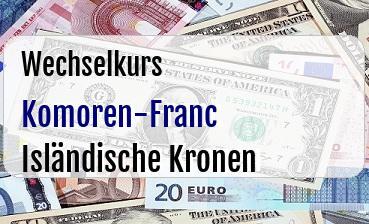 Komoren-Franc in Isländische Kronen