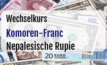 Komoren-Franc in Nepalesische Rupie