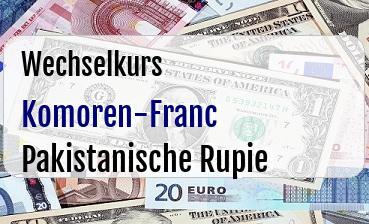 Komoren-Franc in Pakistanische Rupie