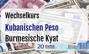Kubanischen Peso in Burmesische Kyat