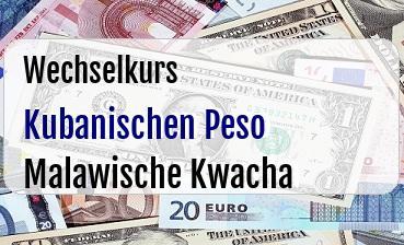 Kubanischen Peso in Malawische Kwacha