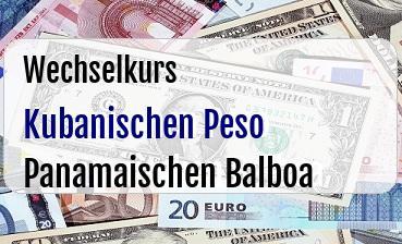 Kubanischen Peso in Panamaischen Balboa