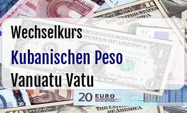 Kubanischen Peso in Vanuatu Vatu