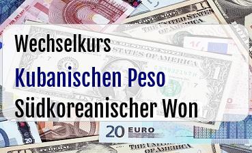 Kubanischen Peso in Südkoreanischer Won