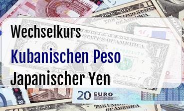 Kubanischen Peso in Japanischer Yen