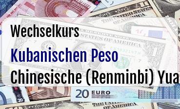 Kubanischen Peso in Chinesische (Renminbi) Yuan