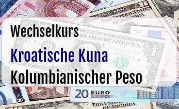 Kroatische Kuna in Kolumbianischer Peso