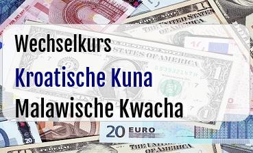 Kroatische Kuna in Malawische Kwacha