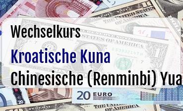Kroatische Kuna in Chinesische (Renminbi) Yuan