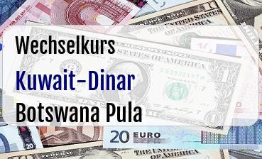 Kuwait-Dinar in Botswana Pula