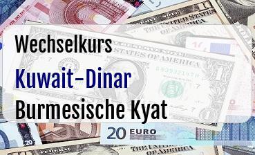 Kuwait-Dinar in Burmesische Kyat