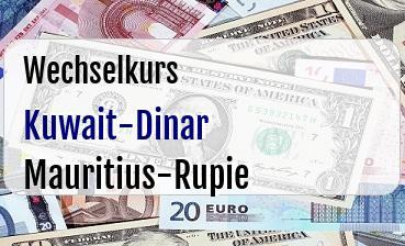 Kuwait-Dinar in Mauritius-Rupie