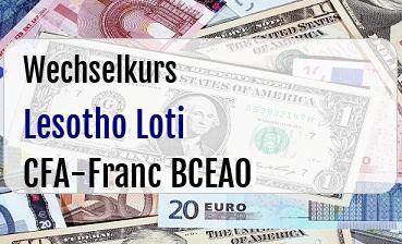 Lesotho Loti in CFA-Franc BCEAO