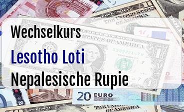Lesotho Loti in Nepalesische Rupie