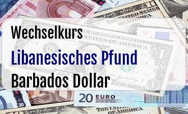 Libanesisches Pfund in Barbados Dollar