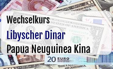Libyscher Dinar in Papua Neuguinea Kina