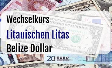 Litauischen Litas in Belize Dollar