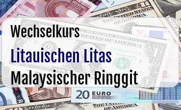 Litauischen Litas in Malaysischer Ringgit