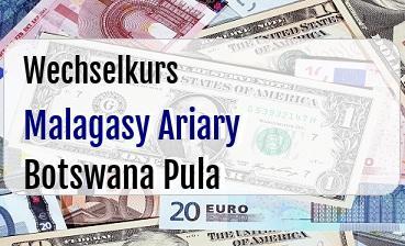 Malagasy Ariary in Botswana Pula