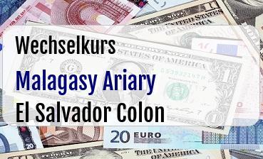 Malagasy Ariary in El Salvador Colon