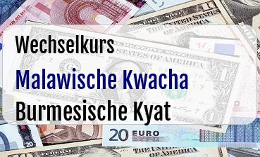 Malawische Kwacha in Burmesische Kyat