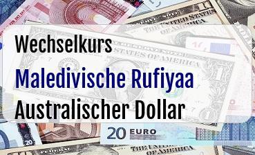 Maledivische Rufiyaa in Australischer Dollar