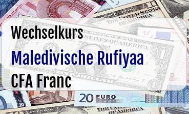 Maledivische Rufiyaa in CFA Franc
