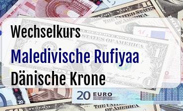 Maledivische Rufiyaa in Dänische Krone