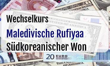 Maledivische Rufiyaa in Südkoreanischer Won