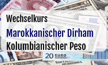Marokkanischer Dirham in Kolumbianischer Peso