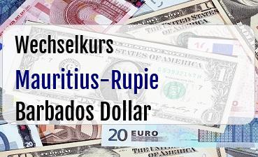 Mauritius-Rupie in Barbados Dollar