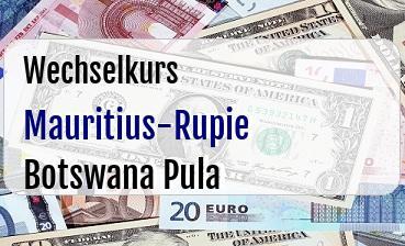Mauritius-Rupie in Botswana Pula