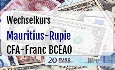 Mauritius-Rupie in CFA-Franc BCEAO