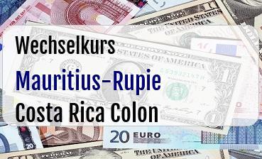 Mauritius-Rupie in Costa Rica Colon