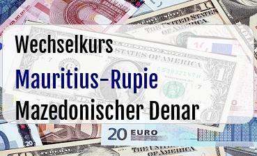 Mauritius-Rupie in Mazedonischer Denar