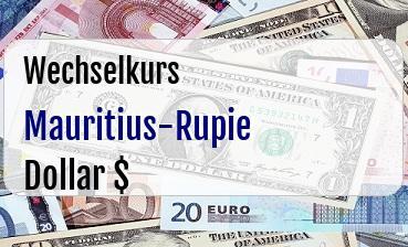 Mauritius-Rupie in US Dollar