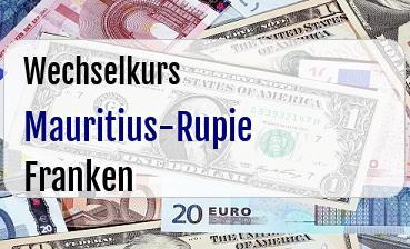 Mauritius-Rupie in Schweizer Franken