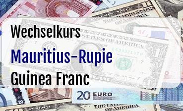 Mauritius-Rupie in Guinea Franc