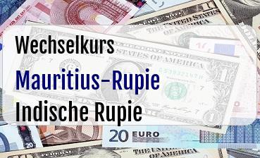 Mauritius-Rupie in Indische Rupie