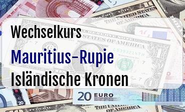 Mauritius-Rupie in Isländische Kronen