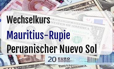 Mauritius-Rupie in Peruanischer Nuevo Sol