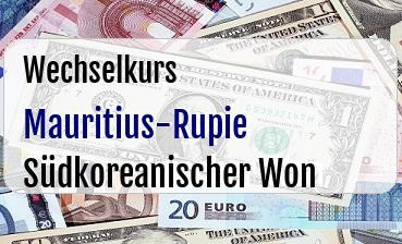 Mauritius-Rupie in Südkoreanischer Won